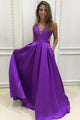 A-Line V-Neck Sweep Train Grape Satin Cut Out Backless Prom Dress Q60