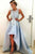 A-Line Crew High Low Light Blue Satin Sleeveless Prom Dress with Appliques Q65