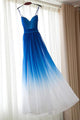 A Line Spaghetti Straps Floor Length Sleeveless Royal Blue Ombre Long Chiffon Prom Dress/Evening Dress OHC105 | Cathyprom