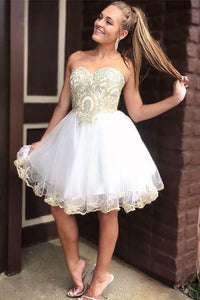 White Sleeveless Short Homecoming Dresses Sweetheart Appliques OHM090 | Cathyprom