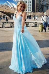 A-Line Deep V-Neck Sweep Train Blue Chiffon Sleeveless Prom Dress with Sequins D26