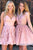 Stylish A Line V Neck Pink Short Homecoming Dresses with Appliques OHM076 | Cathyprom