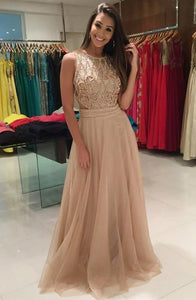 A-Line Jewel Sweep Train Champagne Tulle Prom Dress with Beading Q43