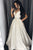 A-Line V-Neck Court Train Ivory Satin Sleeveless Prom Dress with Beading Q63