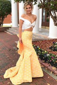 Two Piece Mermaid Off-the-Shoulder Sweep Train Spots Yellow Satin Prom Dress with Ruffles L17