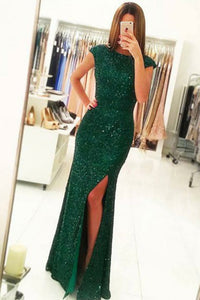 Mermaid Crew Cap Sleeves Dark Green Open Back Sequined Prom Dress Q59