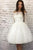 Princess A Line Off the Shoulder White Homecoming Dresses Long Sleeves OHM024 | Cathyprom