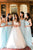 A Line Sweetheart Floor Length Sleeveless Long Tulle Romantic Bridesmaid Dresses with Ruffles OHS129 | Cathyprom