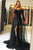 A-Line Off-the-Shoulder Long Sleeves Black Tulle Prom Dress with Lace Sequins L12