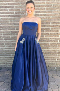 A-Line Strapless Sweep Train Royal Blue Satin Prom Dress with Beading Pockets L25
