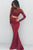 Two Piece Memraid Bateau Sweep Train Long Sleeves Burgundy Stretch Satin Prom Dress with Lace Z24