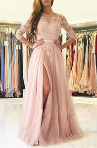 A-Line Bateau Long Sleeves Sweep Train Pink Tulle Prom Dress with Appliques Q32
