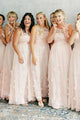 A-Line Crew Floor-Length Chiffon Bridesmaid Dress with Flowers OHS084 | Cathyprom
