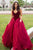 Ball Gown Sweetheart Sweep Train Burgundy Tulle Pleated Prom Dress Q54