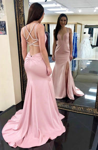 Mermaid Deep V-Neck Split Sweep Train Pink Criss-Cross Straps Beaded Prom Dress Q4