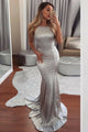 Mermaid Halter Backless Sweep Train Silver Prom Dress with Sequins LPD100 | Cathyprom