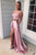 Two Piece Square Lace Up Pink Split Long Prom Dress with Lace Pockets D25