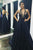 A-Line Halter Backless Navy Blue Prom Dress with Appliques Pockets L57 | Cathyprom