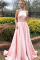 A-Line Jewel Sweep Train Pink Satin Open Back Sleeveless Prom Dress with Beading Z1