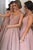 A-Line V-Neck Floor-Length Blush Bridesmaid Dress with Beading OHS003 | Cathyprom