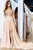A-Line V-Neck Open Back Long Sleeves Light Champagne Long Prom Dress with Sequins Split LPD87 | Cathyprom