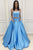 Two Piece Strapless Sweep Train Blue Prom Dress with Pockets Beading L49 | Cathyprom