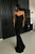 Mermaid Spaghetti Straps Floor-Length Black Sequined Prom Evening Dress OHC006 | Cathyprom
