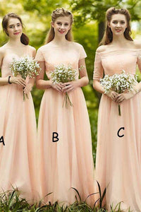 Cheap Beautiful Off-the-shoulder Floor Length Sleeveless Long Chiffon Bridesmaid Dresses with Appliques OHS107 | Cathyprom