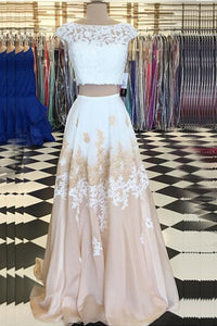 Two Piece Bateau Champagne Chiffon Sweep Train Beaded Prom Dress with Appliques P46