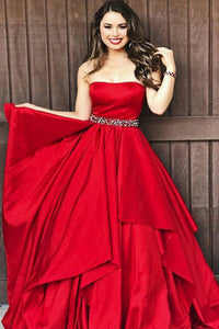 A-Line Sweetheart Sweep Train Red Satin Sleeveless Prom Dress with Beading Ruffles Z12