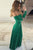 Sheath Off the Shoulder Long Sleeves Floor Length Green Prom Dress with Ruched P92 | Cathyprom