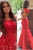 Mermaid Scoop Sweep Train Cap Sleeves Open Back Red Lace Prom Dress P29