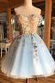 A Line Sweetheart Blue Short Homecoming Dresses with Flowers OHM018 | Cathyprom