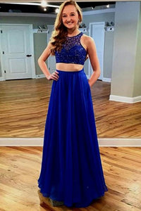 Two Piece Jewel Floor-Length Royal Blue Chiffon Prom Dress with Lace Pockets D18