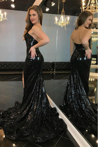 Sexy Black Sequined Split Prom Dress Sparkle Mermaid Strapless Long Evening Dress OHC030 | Cathyprom