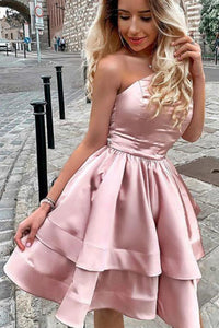 A Line One Shoulder Pink Short Homecoming Prom Dresses with Ruched OHM023 | Cathyprom