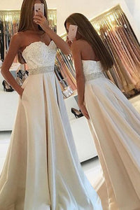 Simple Sweetheart Sleeveless Floor-Length Pockets Ivory Prom Dress with Lace Beading LPD54 | Cathyprom