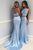 Two Piece Round Neck Sweep Train Blue Prom Dress with Beading L37 | Cathyprom