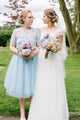 A-line Scoop Tea-length Short Sleeves 3D Flower Short Tulle Bridesmaid Dresses OHS119 | Cathyprom