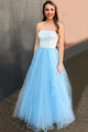 A-Line Strapless Floor-Length Light Blue Prom Dress with Lace Beading D10