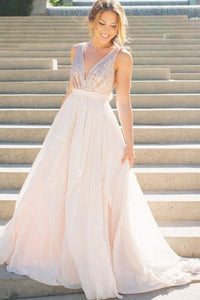 A-Line Deep V-Neck Sweep Train Pearl Pink Chiffon Backless Bowknot Prom Dress Z13