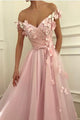 Gorgeous Appliques V-neck Off Shoulder Prom Dresses Long Tulle Evening Gowns PD19