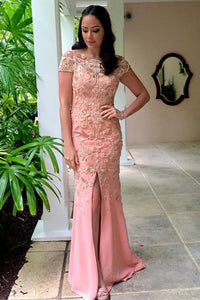 Sheath Bateau Cap SLeeves Floor-Length Pink Prom Dress with Appliques OHC092 | Cathyprom