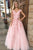 A-Line V-Neck Cap Sleeves Pink Tulle Beaded Appliques Prom Dress OHC102 | Cathyprom