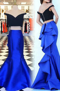 Fashion Two Piece Off the Shoulder Short Sleeves Tiered Royal Blue Mermaid Prom Dress LPD52 | Cathyprom