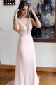 Sheath Deep V-Neck Sweep Train Pearl Pink Chiffon Prom Dress with Beading OHC099 | Cathyprom
