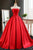 Elegant Strapless Sweep Train Ball Gown Red Pleats Prom Dress with Bow LPD64 | Cathyprom