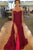 Burgundy Beading Off the Shoulder Sleeveless Split Pleats Sweep Train Prom Dress P70