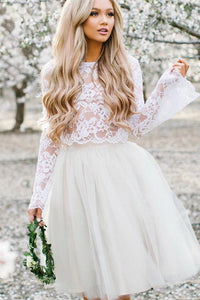 Beautiful Two Piece Homecoming Dresses Lace Appliques Long Sleeves Homecoming Party Dress OHM103 | Cathyprom