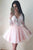 Long Sleeve Homecoming Dresses V neck A line Pink Short Prom Dress Party Dress OHM143